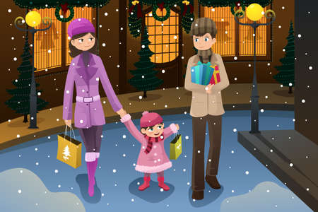 kid shopping: illustration of happy family shopping for Christmas together during the winter season