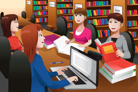 adults learning: illustration of college students studying in a library together