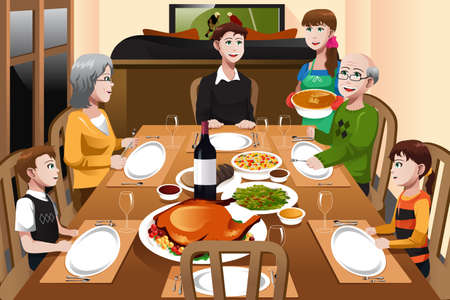 A illustration of happy family having a Thanksgiving dinner together