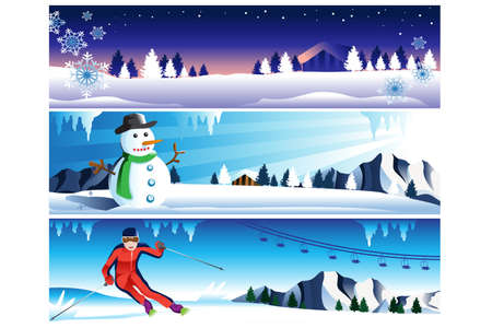 illustration of winter banner with copyspace Vector