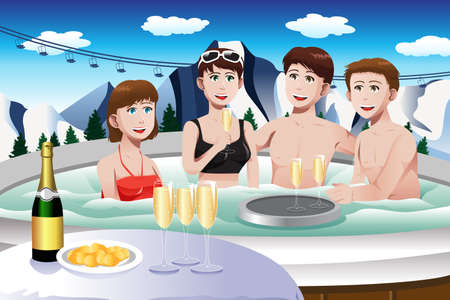 hot woman: illustration of young people enjoying hot tub in a ski resort during winter Illustration
