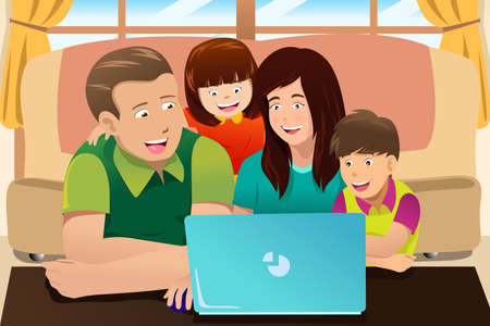 a laptop: A vector illustration of happy family looking at a laptop