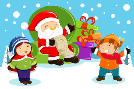 illustration of Santa Claus carrying present bags and holding a name list with kids around him Vector