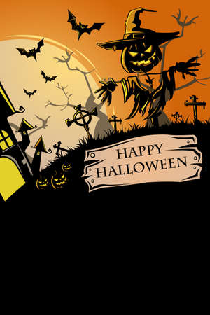 halloween background: illustration of Halloween poster design Illustration