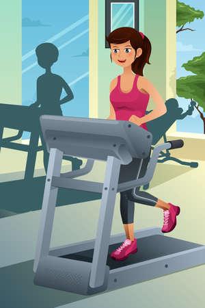 donna che corre: Una illustrazione vettoriale di una giovane donna bella in esecuzione su un tapis roulant in una palestra