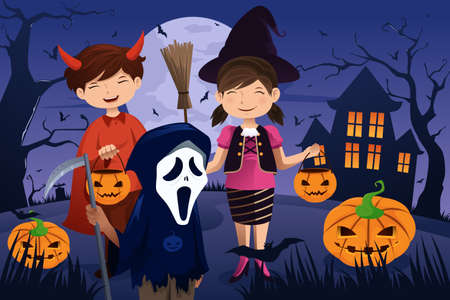 A vector illustration of kids dressed up in costumes trick or treating during Halloween