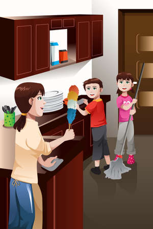 A vector illustration of happy kids helping their mother cleaning house Çizim