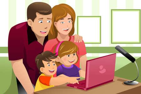 Een vector illustratie van gelukkige familie kijken naar een laptop
