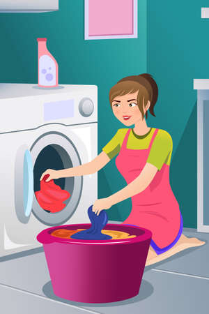 washer machine: A vector illustration of a housewife doing laundry