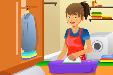 housekeeping: Una ilustraci?n vectorial de un ama de casa la ropa de planchar en su casa Vectores