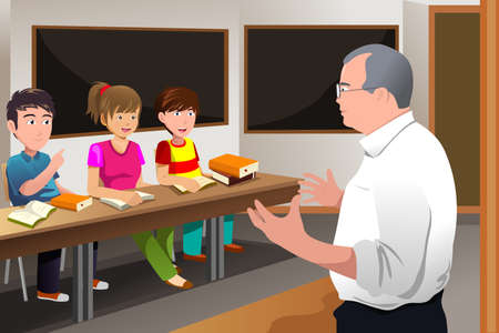 explaining: A vector illustration of college students in class with professor teaching