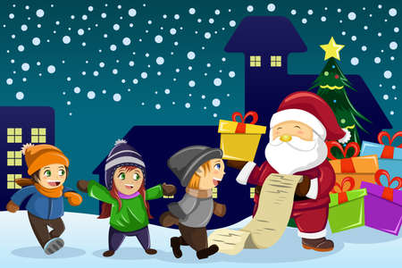 A vector illustration of Santa Claus carrying present and holding a name list with kids around him Illusztráció