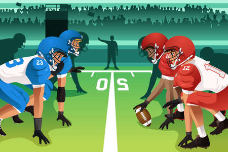 scrimmage: A vector illustration of football players in a match in a stadium Illustration