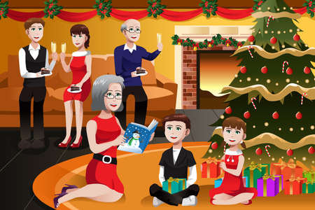 family eating: A vector illustration of happy family having a Christmas party together