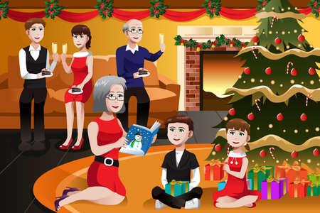 fiesta familiar: Una ilustraci�n del vector de la familia feliz que una fiesta de Navidad juntos