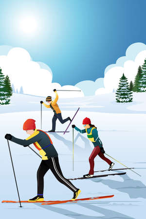A vector illustration of skiers in the winter Vector