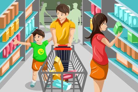 Een vector illustratie van gelukkige gezin boodschappen in supermarkt