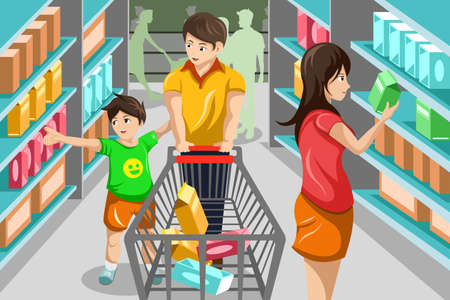 A vector illustration of happy family grocery shopping in supermarket