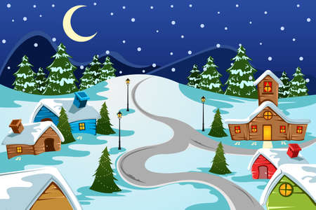 festive background: A vector illustration of winter village used for Christmas card Illustration