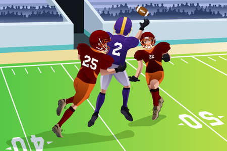 scrimmage: illustration of football players in a match in a stadium Illustration