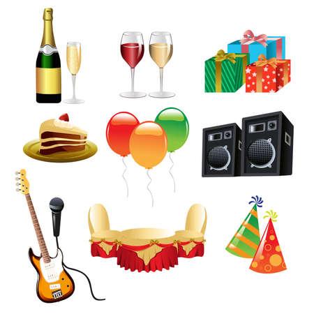 champagne celebration: illustration of party icon sets