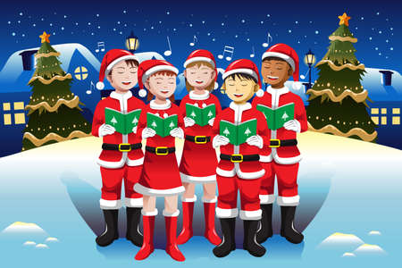 child singing: illustration of happy kids singing in Christmas choir