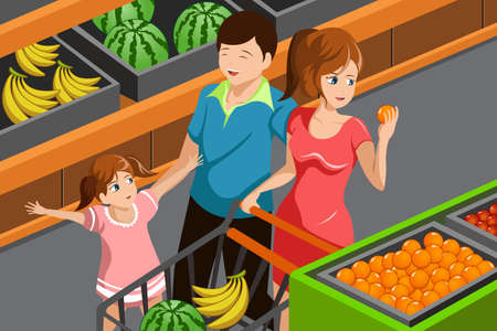 kid shopping: illustration of happy family choosing fruits in supermarket together