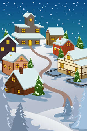 illustration of winter village used for Christmas card