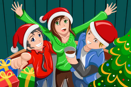 illustration of happy young people having a Christmas party together