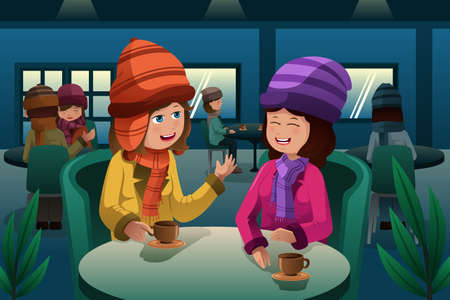 A illustration of fashion people drinking coffee inside a cafe