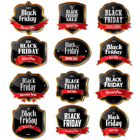 A illustration of black Friday sale label designs Vector