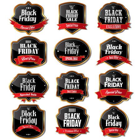 the label: A illustration of black Friday sale label designs Illustration