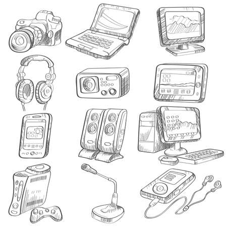 A illustration of pencil drawing of electronic gadget Vettoriali