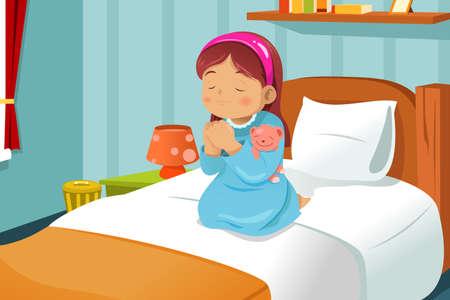 niño orando: Una ilustración linda niña rezando antes de ir a la cama Vectores