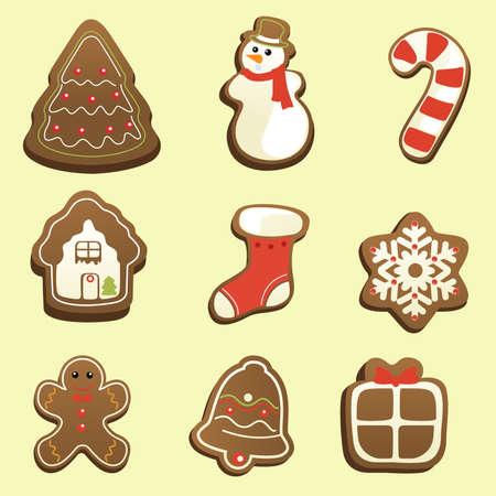 A illustration of gingerbread icon sets 일러스트