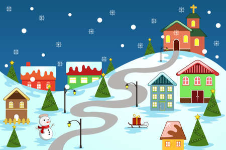 A illustration of winter village used for Christmas card