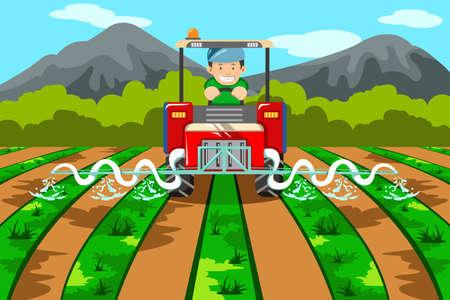 Een illustratie van een boer besproeien van de boerderij met tractor