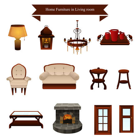 A vector illustration of furniture icons designs