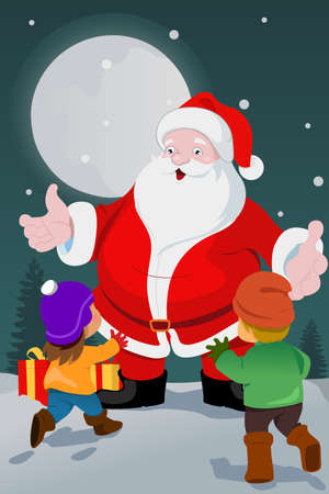 A vector illustration of cute little kids with santa claus Stock Vector - 22777986