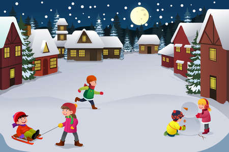 A vector illustration of happy kids playing in a winter wonderland together