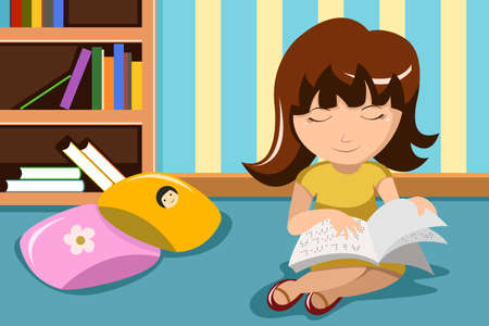 A vector illustration of blind little girl reading a book in braille