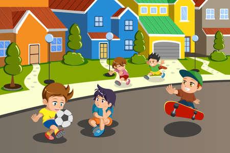 Een vector illustratie van gelukkige kinderen spelen in de straat van een suburbane wijk