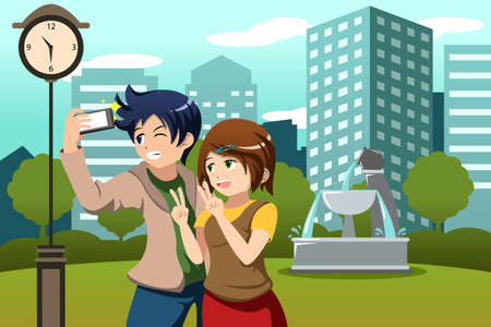 taking picture: A vector illustration of happy couple on vacation in a big city taking picture of themselves with their cellphone