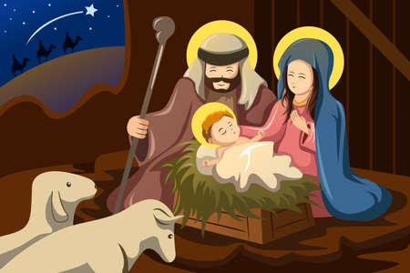 familia en la iglesia: Una ilustración vectorial de José, María y el Niño Jesús para el concepto de la natividad