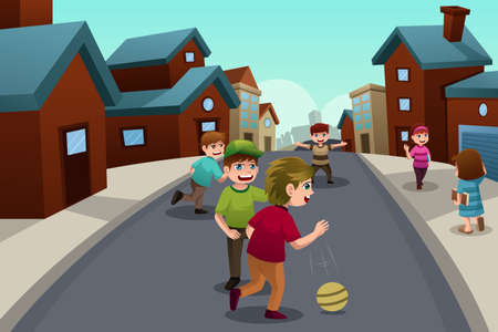 A vector illustration of happy kids playing in the street of a suburban neighborhood Stock Vector - 22778582
