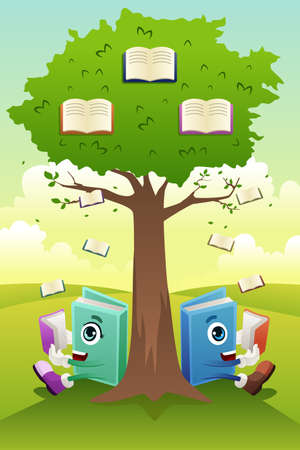 A vector illustration of a learning tree education concept Иллюстрация
