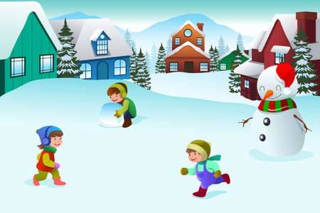 winter season: A vector illustration of happy kids playing in a winter wonderland together