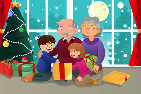 A vector illustration of  happy kids opening Christmas present from grandparents