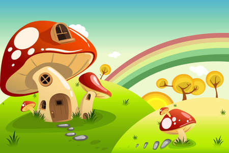 rainbow background: A vector illustration of mushroom fantasy house Illustration