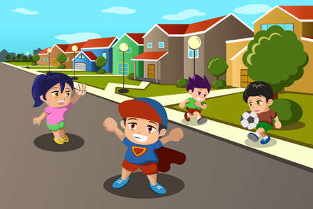 A vector illustration of happy kids playing in the street of a suburban neighborhood Vector